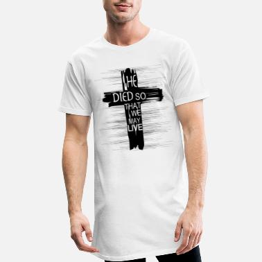 Cross Symbol Christianity Religious Saying Died Live - Men's Long T-Shirt