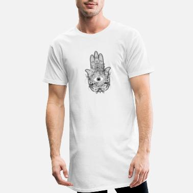 Eyes artistically decorated hand of Fatima with eye - Men's Long T-Shirt