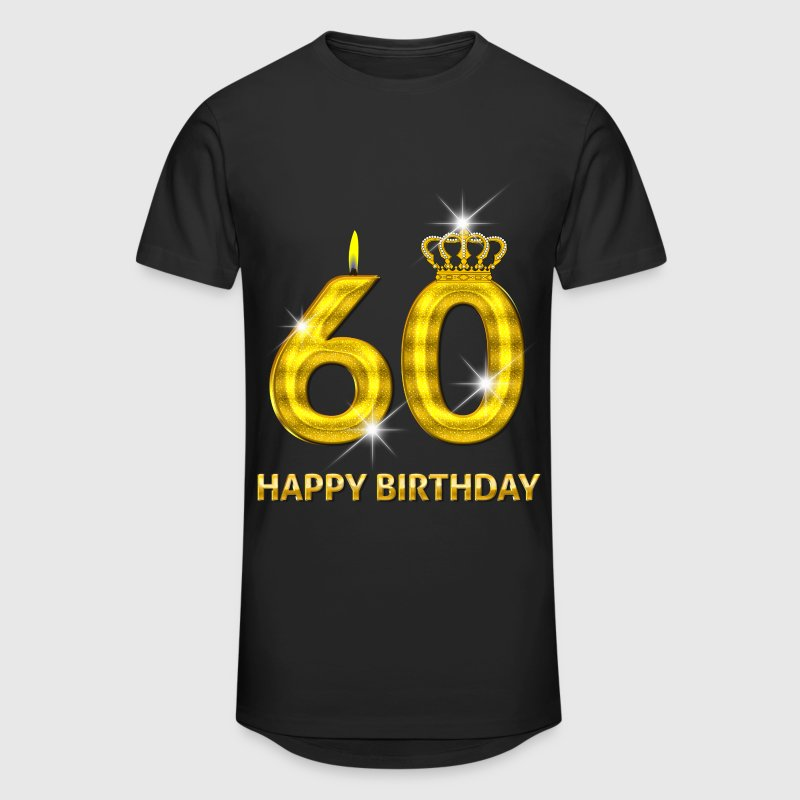 60 - happy birthday - birthday - number gold - Men's Long Body Urban Tee