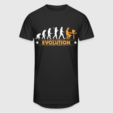 Computer Nerd Evolution - orange/weiss - Men's Long Body Urban Tee