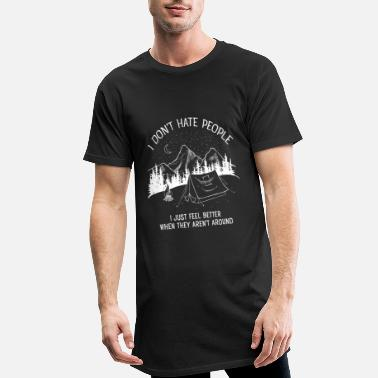 Slogan I Don't Hate People...Mountains, Camping, Campfire - Lång T-shirt herr