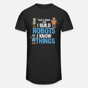 Lelu Robotti I build Robots and know things - AI Roboter Lustig - Miesten urbaani pitkäpaita