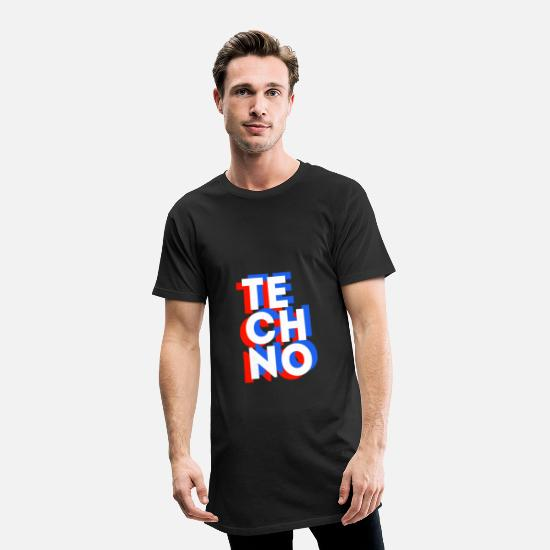 Techno T-Shirts - TECHNO 3D - Men's Long T-Shirt black