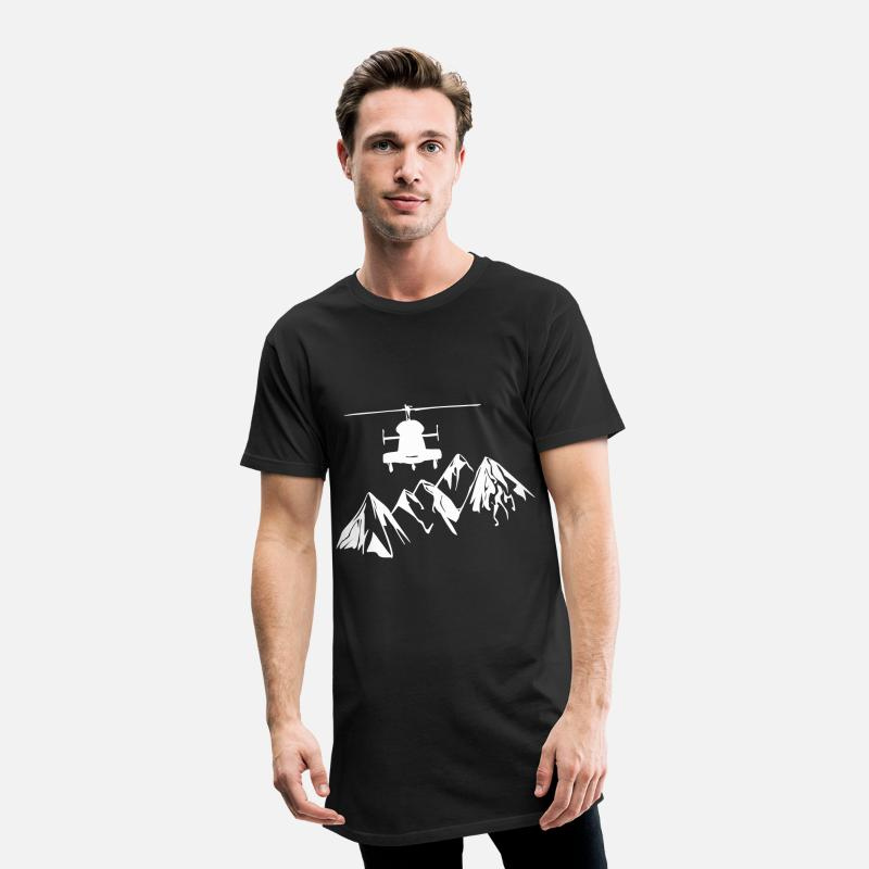 Alps T-Shirts - Helicopter with mountains - Men's Long T-Shirt black