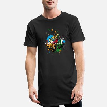 Rubik's Cube Colourful Splatters - Men's Long T-Shirt