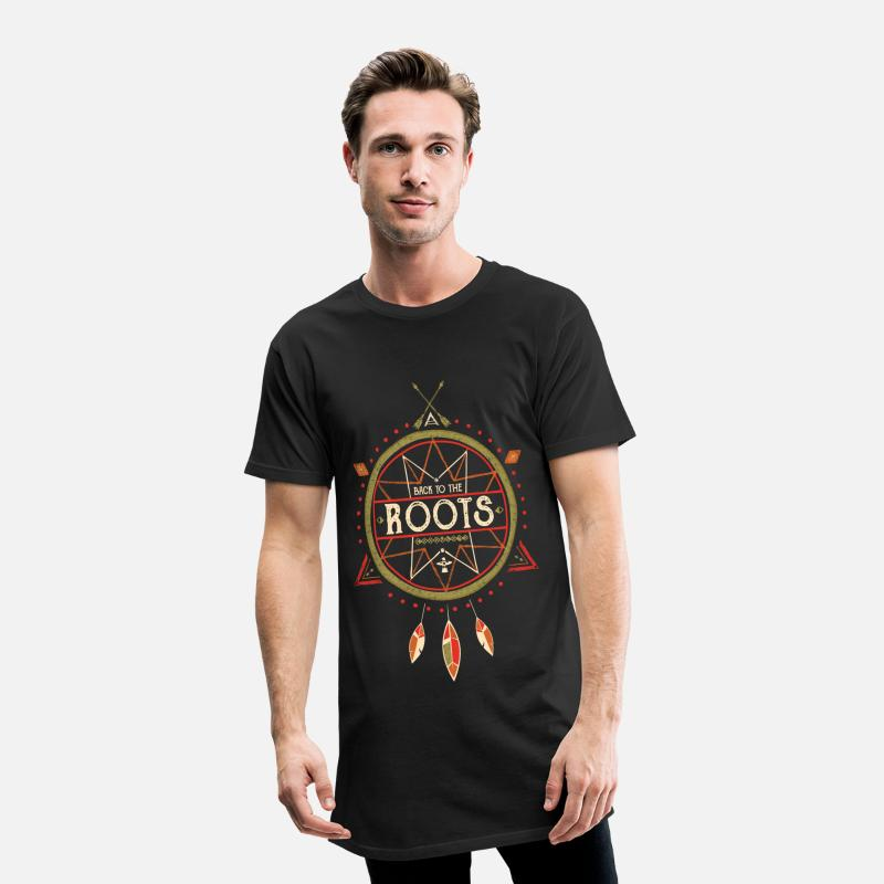 Hipster T-Shirts - Back to the Roots - Grunge Look - Men's Long T-Shirt black