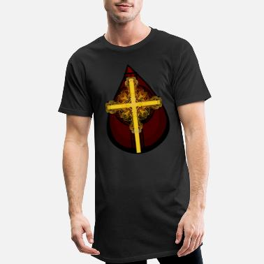 Kristi Himmelfart Drop of Blood Kristi blod Jesus Cross Religion - Lang T-skjorte for menn