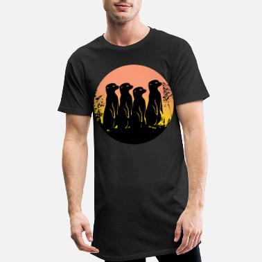 Meerkat with moon in the moonlight - Men's Long T-Shirt