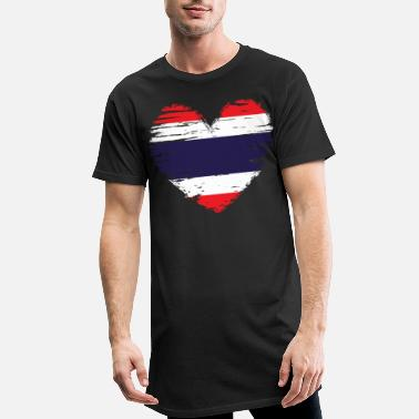 Arms Thailand heart flag banner coat - Men's Long T-Shirt
