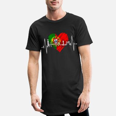 Abril Lisbonne skyline battement de coeur Portugal drapeau Lisboa - T-shirt long Homme