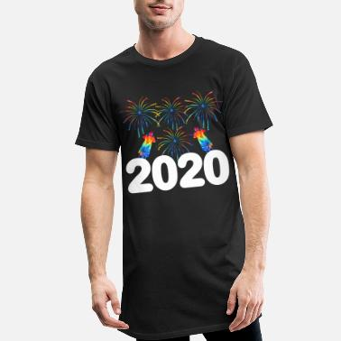 Happy New Year Colorful Fireworks Happy New Year 2020 January - Men's Long T-Shirt