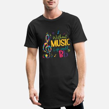 Without music, life would be B-key musical notes - Men's Long T-Shirt