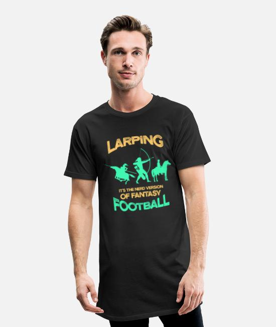 Cosplay T-Shirts - Funny LARP Larping Fantasy Football Middle Ages - Men's Long T-Shirt black