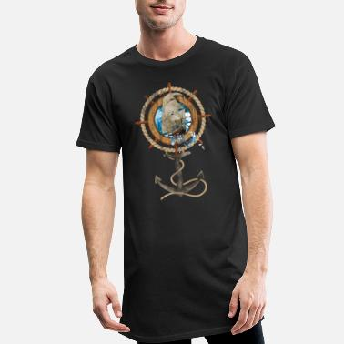 Maritime Rudder with Sailing Ship and Anchor - Men's Long T-Shirt