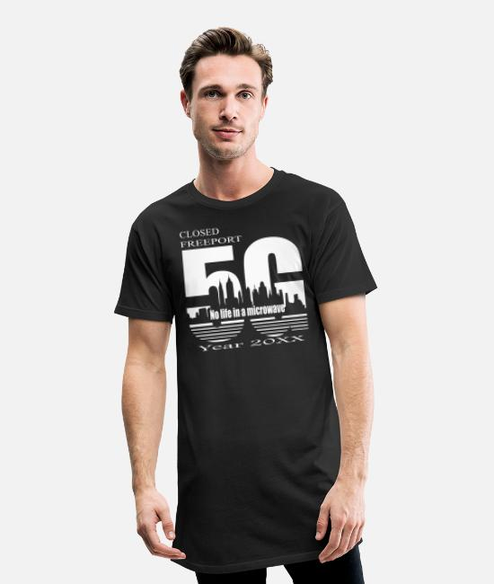Wireless T-Shirts - Living in a 5G microwave - Men's Long T-Shirt black
