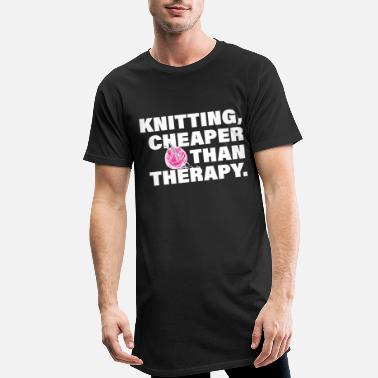 Knit Knitting Therapy Funny Knitting Knitting Hobby - Men's Long T-Shirt