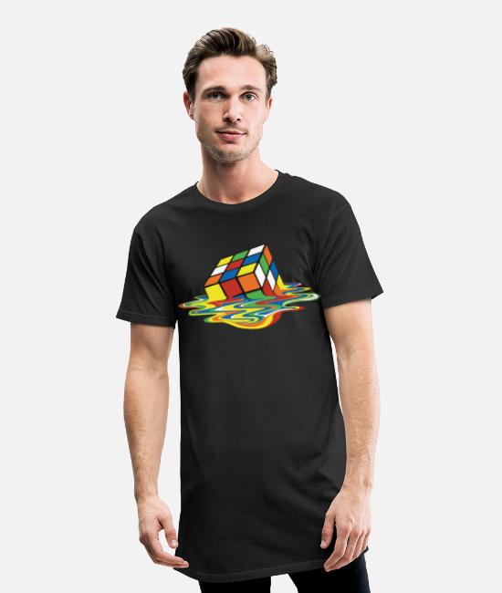 The Best Of T-shirts - Rubik's Cube Melted Colourful Puddle - Mannen Longshirt zwart