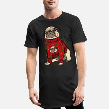 Christmas Pug in ugly christmas pullover - Men's Long T-Shirt