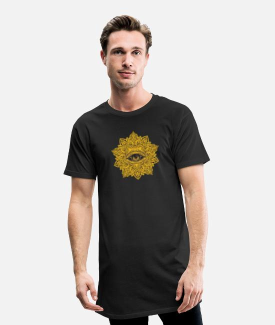 Eye T-Shirts - All Seeing Eye - Mandala - Men's Long T-Shirt black