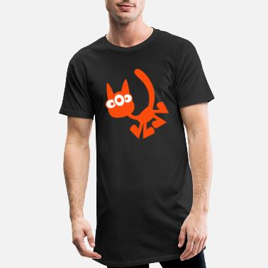 Three-Eyed Cartoon Cat Vector Graphic by Cheerful - Men's Long T-Shirt