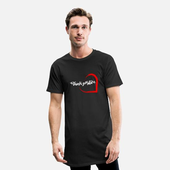 "Thoughts T-Shirts - ""Think positive"" imprint - Men's Long T-Shirt black"