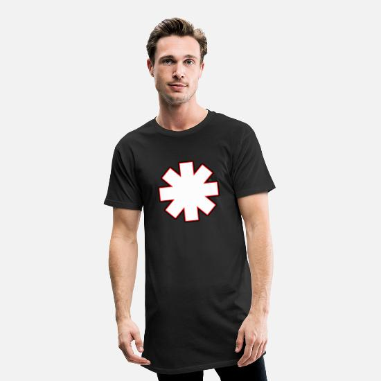 Red T-Shirts - Asterisk rhcp White - Men's Long T-Shirt black