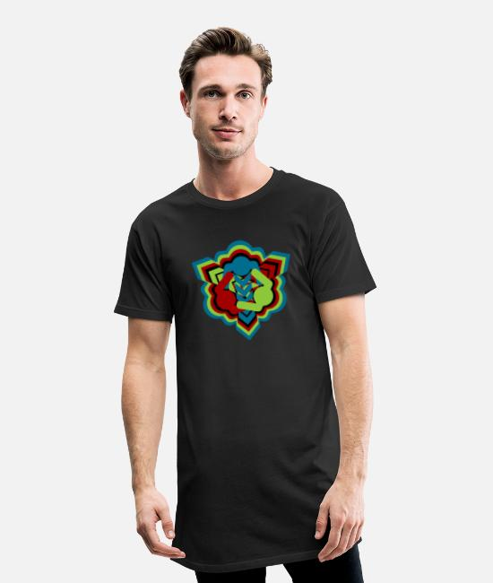 Dancing T-Shirts - Triangle dance inspired pattern design - Men's Long T-Shirt black