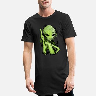 Satire Extraterrestre avec illustration du doigt du milieu - T-shirt long Homme