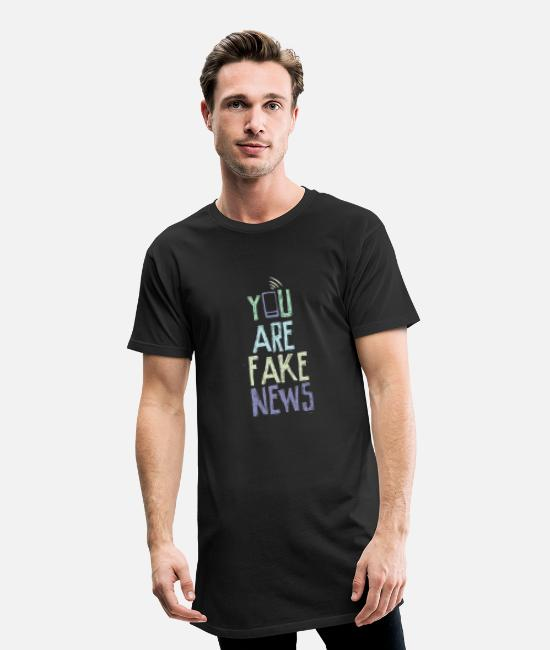 Journalist T-Shirts - You are fake news - Men's Long T-Shirt black