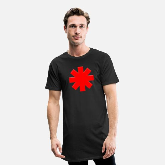 Red T-Shirts - Asterisk RHCP - Men's Long T-Shirt black