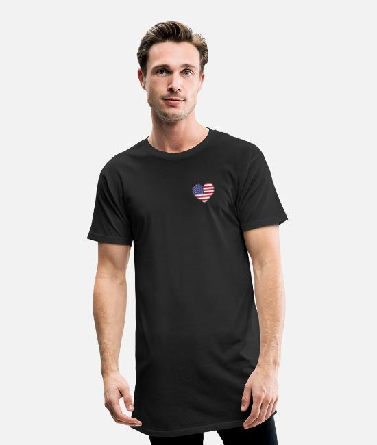 Usa T-Shirts - USA Flag Shirt Heart - American Shirt - Men's Long T-Shirt black
