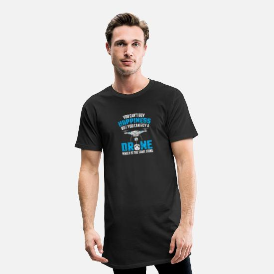Birthday T-Shirts - Can't Buy Happiness You Can Buy A Drone Distressed - Men's Long T-Shirt black