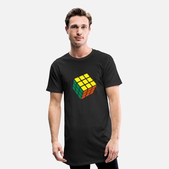 Cube T-Shirts - Rubik's Cube Solved - Men's Long T-Shirt black