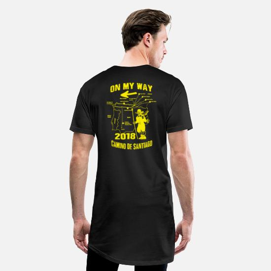 Caminoen T-shirts - Pilgrim Way af St. James 2018 Camino de Santiago Route Route - Lang T-Shirt mænd sort