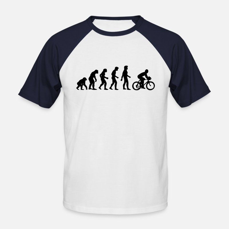 Humour T-Shirts - evolution homme cyclisme - Men's Baseball T-Shirt white/navy