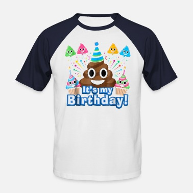 Poop Monster It's My Birthday Poop Emoji Funny - Men's Baseball T-Shirt