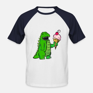 Waffle Kids Dinosaur with ice cream in the waffle - Men's Baseball T-Shirt