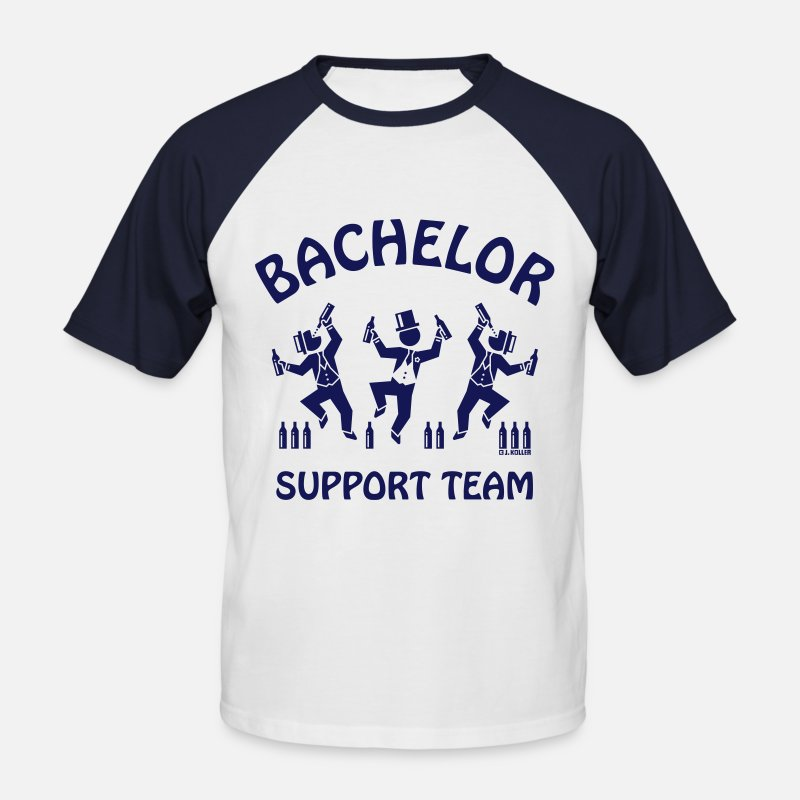 Alcohol T-Shirts - Bachelor Support Team / Beer Drinkers (Stag Party) - Men's Baseball T-Shirt white/navy