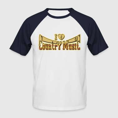 i love country music - T-shirt baseball manches courtes Homme