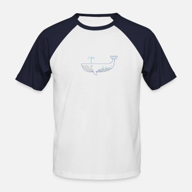 Blue Blue Whale / Blue Whale - Men's Baseball T-Shirt