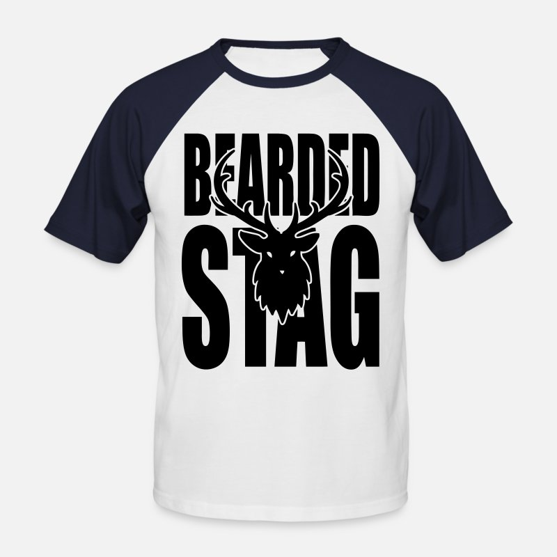 Party T-Shirts - The BEARDED Stag! - Men's Baseball T-Shirt white/navy