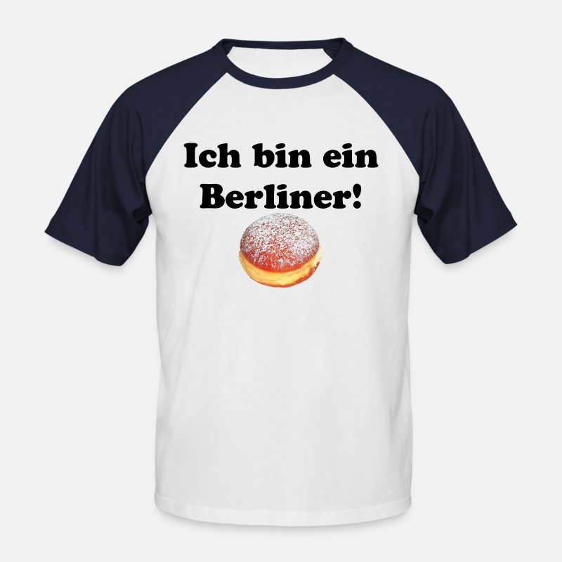 Ich Bin Ein Berliner Quote Slogan Statement T-Shirts - Ich bin ein berliner - Mannen baseball T-Shirt wit/navy