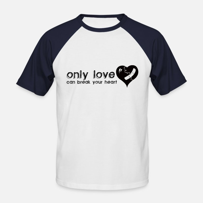 Fox Base Alpha T-shirt T-Shirts - Only Love Can Break Your Heart - Men's Baseball T-Shirt white/navy