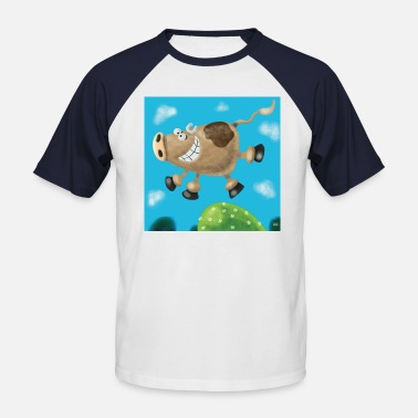 Illustrated Cows Cow - Men's Baseball T-Shirt