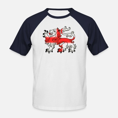 Cross Of St George English Lion Passant with St George's Cross - Men's Baseball T-Shirt