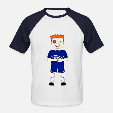 Rugby Ball Cartoon Rugby Player in Blue Kit - Men's Baseball T-Shirt