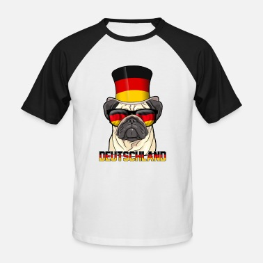 Cool Hats Cool Germany pug with hat and glasses - Men's Baseball T-Shirt
