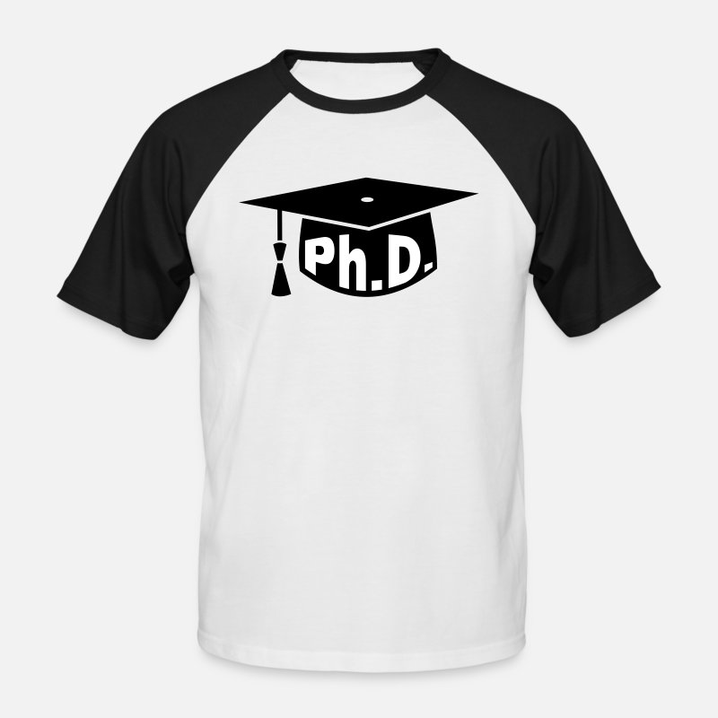 Phd T-Shirts - Afstuderen party - PhD - Gift - Mannen baseball T-Shirt wit/zwart