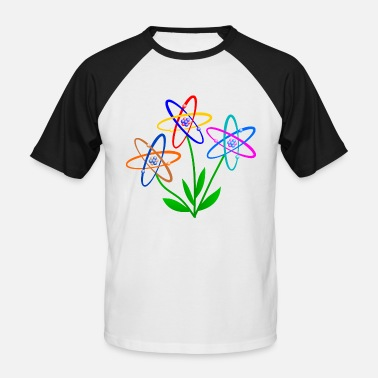 Atomic Energy flower power, atom, atomic nucleus, flowers nuclear energy - Men's Baseball T-Shirt