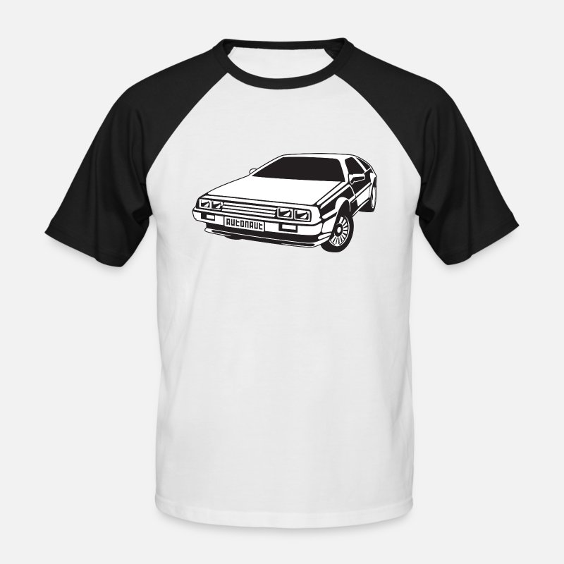 Delorean T-Shirts - DMC DeLorean - Men's Baseball T-Shirt white/black